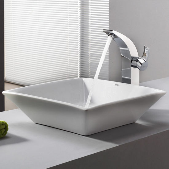 "Kraus White Square Ceramic Sink and Illusio Chrome Faucet, 16-4/5""W x 16-4/5""D x 4-5/7""H"