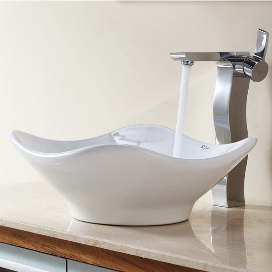 "Kraus White Tulip Ceramic Sink and Sonus Chrome Faucet, 15-4/5""W x 15-2/5""D x 6""H"