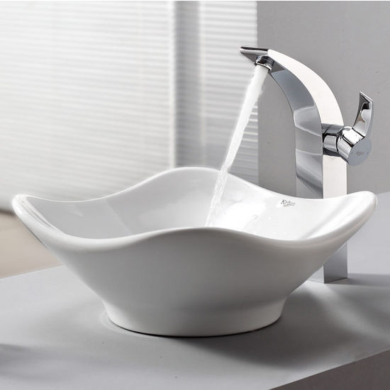 "Kraus White Tulip Ceramic Sink and Illusio Chrome Faucet, 15-4/5""W x 15-2/5""D x 6""H"
