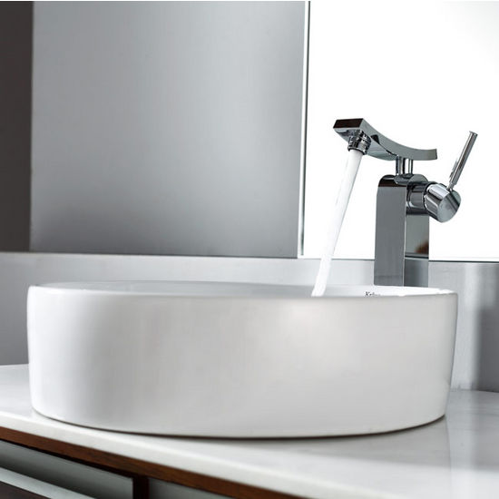 "Kraus White Round Ceramic Sink and Unicus Chrome Faucet, 18"" Dia. x 4-6/7""H"
