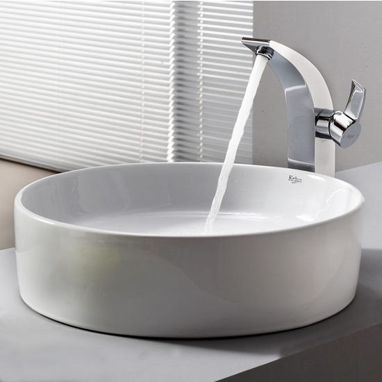 "Kraus White Round Ceramic Sink and Illusio Chrome Faucet, 18"" Dia. x 4-6/7""H"