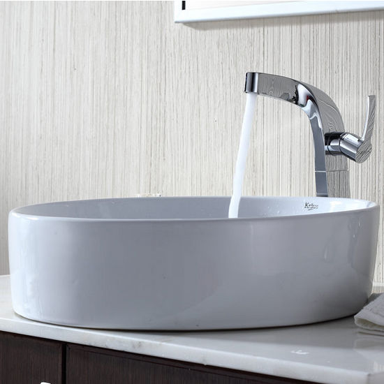 "Kraus White Round Ceramic Sink and Typhon Chrome Faucet, 18"" Dia. x 4-6/7""H"
