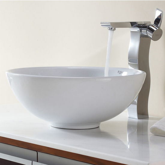 "Kraus White Round Ceramic Sink and Sonus Chrome Faucet, 16"" Dia. x 6-1/4""H"