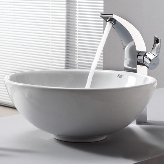"Kraus White Round Ceramic Sink and Illusio Chrome Faucet, 16"" Dia. x 6-1/4""H"