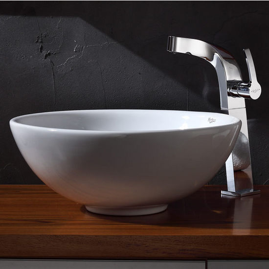 "Kraus White Round Ceramic Sink and Typhon Chrome Faucet, 16"" Dia. x 6-1/4""H"
