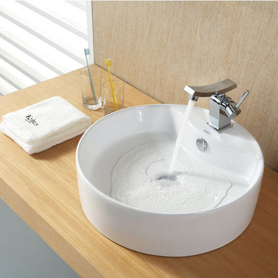 "Kraus White Round Ceramic Sink and Unicus Basin Chrome Faucet, 18-1/2"" Dia. x 5-1/2""H"
