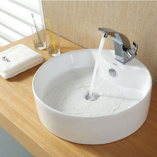 "Kraus White Round Ceramic Sink and Illusio Basin Chrome Faucet, 18-1/2"" Dia. x 5-1/2""H"