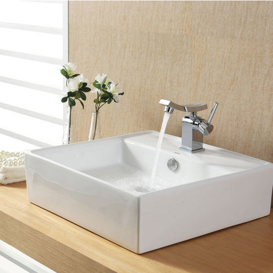 "Kraus White Square Ceramic Sink and Unicus Basin Chrome Faucet, 18-3/5""W x 18-3/5""D x 5-4/5""H"