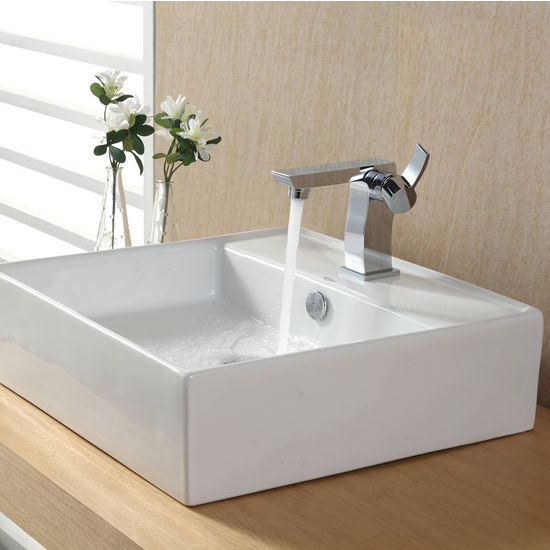 "Kraus White Square Ceramic Sink and Sonus Basin Chrome Faucet, 18-3/5""W x 18-3/5""D x 5-4/5""H"