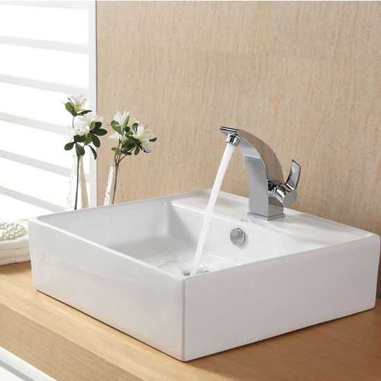 "Kraus White Square Ceramic Sink and Illusio Basin Chrome Faucet, 18-3/5""W x 18-3/5""D x 5-4/5""H"