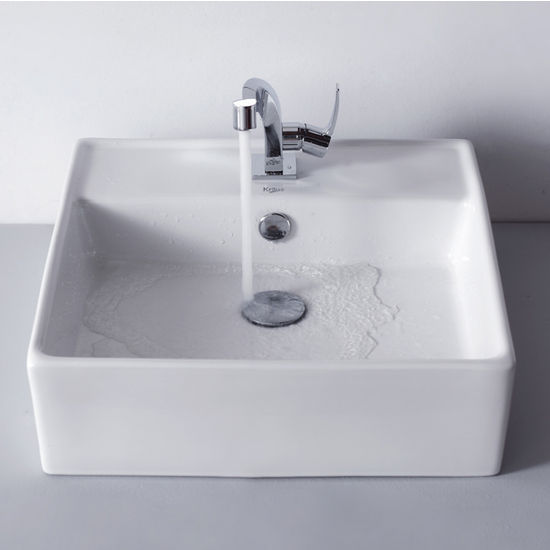 "Kraus White Square Ceramic Sink and Typhon Basin Chrome Faucet, 18-3/5""W x 18-3/5""D x 5-4/5""H"