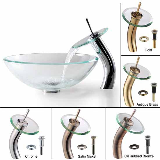 Kraus Clear Glass Vessel Bathroom Sink and Waterfall Faucet Sets