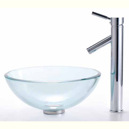Clear 14 inch Glass Vessel Sink and Bruno Faucet Set by Kraus ...