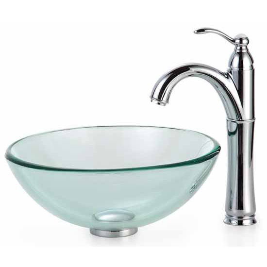 Kraus Clear 14 Inch Glass Vessel Sink And Rivera Faucet, Chrome