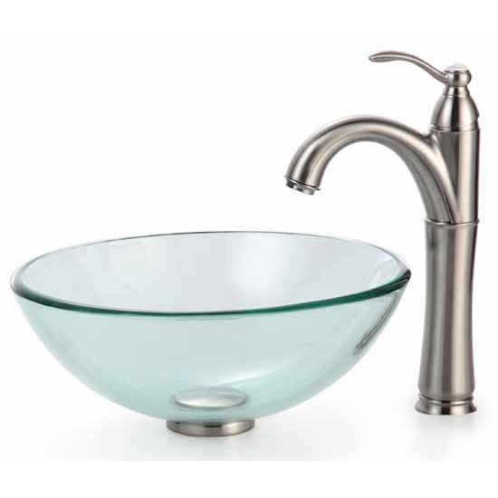 Kraus Clear 14 inch Glass Vessel Sink and Rivera Faucet, Oil Rubbed Bronze