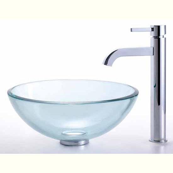 Kraus Clear 14 inch Glass Vessel Sink and Ramus Faucet Set