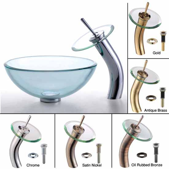 Kraus Clear 14 inch Glass Vessel Sink and Waterfall Faucet Set