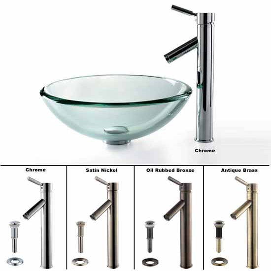Kraus Clear 19mm thick Glass Vessel Sink and Sheven Faucet Set