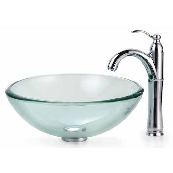 Kraus Clear 19mm thick Glass Vessel Sink and Rivera Faucet, Chrome