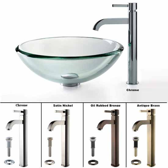 Kraus Clear 19mm thick Glass Vessel Sink and Ramus Faucet Set