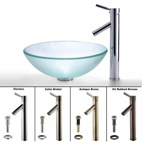 Kraus Clear Glass Vessel Bathroom Sink and Sheven Faucet Set