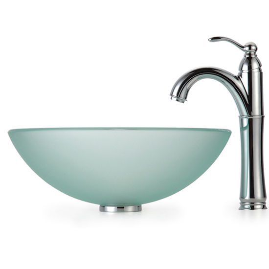 Kraus Frosted Glass Vessel Sink and Rivera Faucet, Chrome