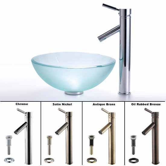 Kraus Frosted 14 inch Glass Vessel Sink and Sheven Faucet Set
