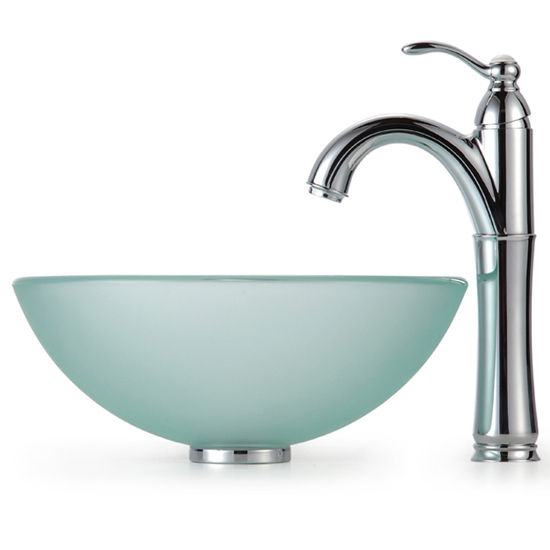 Kraus Frosted 14 inch Glass Vessel Sink and Rivera Faucet, Chrome