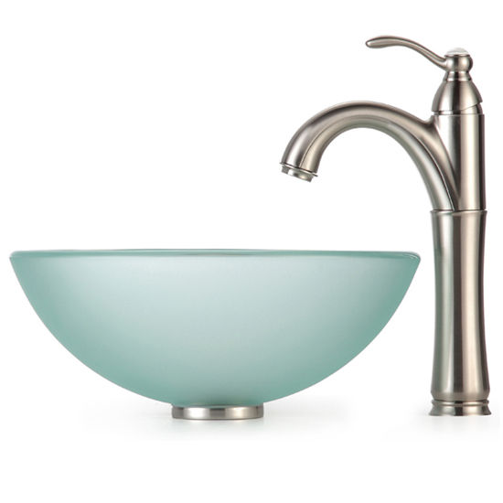 Gentil Kraus Frosted 14 Inch Glass Vessel Sink And Rivera Faucet, Satin Nickel