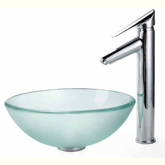 Frosted 14 inch Glass Vessel Sink and Decus Bathroom Faucet Set by ...