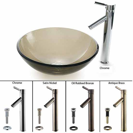 Kraus Clear Brown Glass Vessel Sink and Sheven Faucet Set