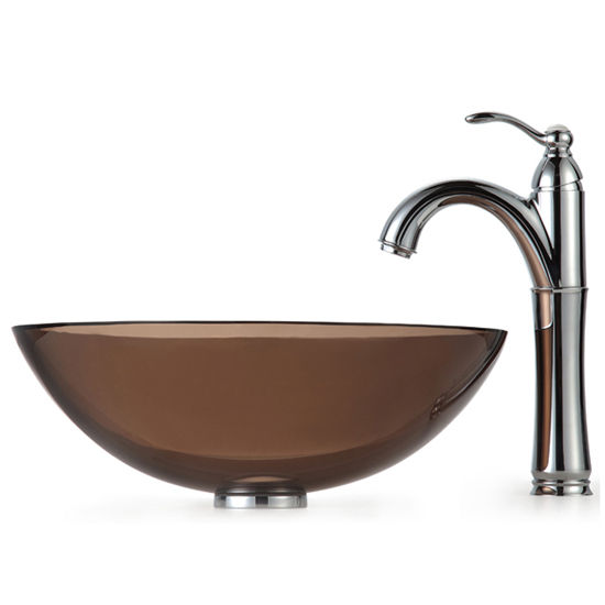Kraus Clear Brown Glass Vessel Sink and Rivera Faucet, Chrome