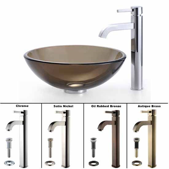 Kraus Clear Brown Glass Vessel Sink and Ramus Faucet Set