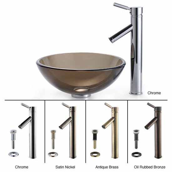 Kraus Clear Brown 14 inch Glass Vessel Sink and Sheven Faucet Set