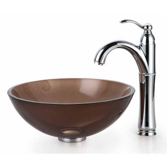 Kraus Clear Brown 14 inch Glass Vessel Sink and Rivera Faucet, Chrome