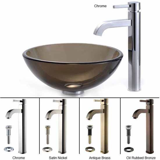 Kraus Clear Brown 14 inch Glass Vessel Sink and Ramus Faucet Set