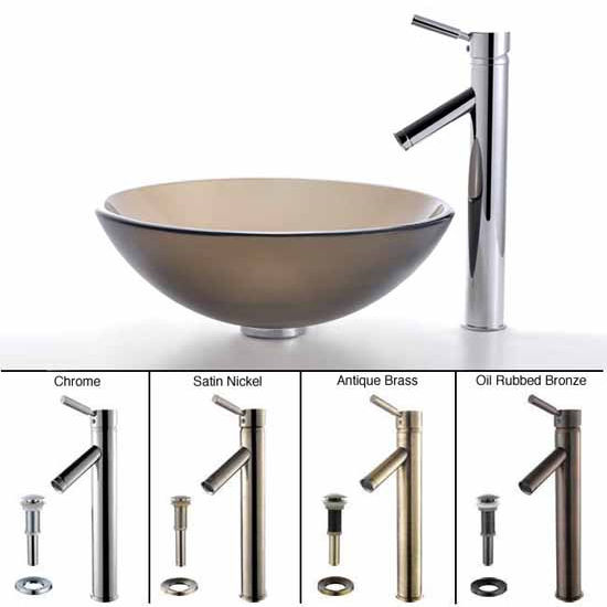 Kraus Frosted Brown Glass Vessel Sink and Sheven Faucet Set