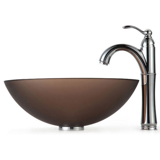 Kraus Frosted Brown Glass Vessel Sink and Rivera Faucet, Chrome