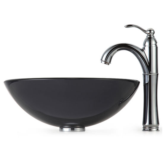 Kraus Clear Black Glass Vessel Sink and Rivera Faucet, Chrome