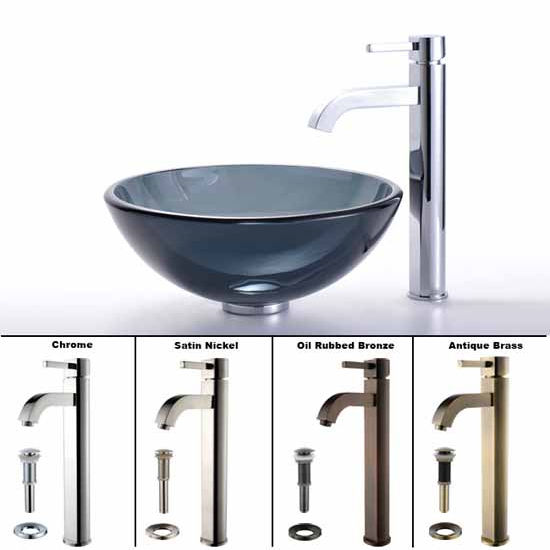 Kraus Clear Black 14 inch Glass Vessel Sink and Ramus Faucet Set