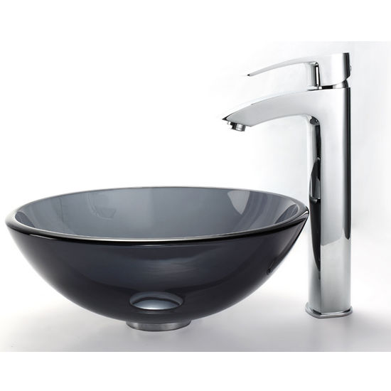 Clear Black 14 inch Glass Vessel Sink Visio Bathroom ...