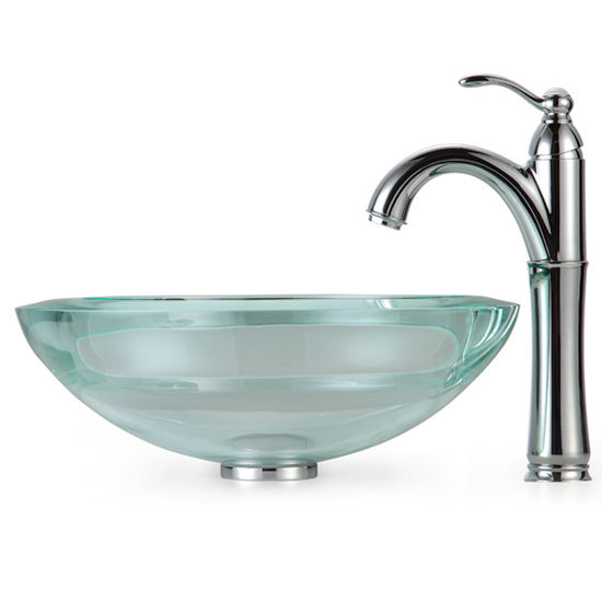 Kraus Clear 34mm edge Glass Vessel Sink and Rivera Faucet, Chrome