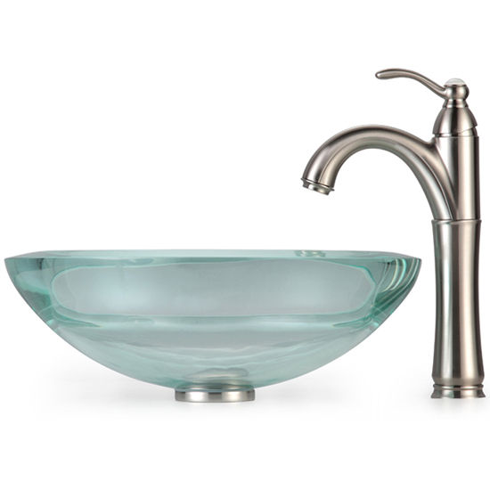 Kraus Clear 34mm edge Glass Vessel Sink and Rivera Faucet, Satin Nickel