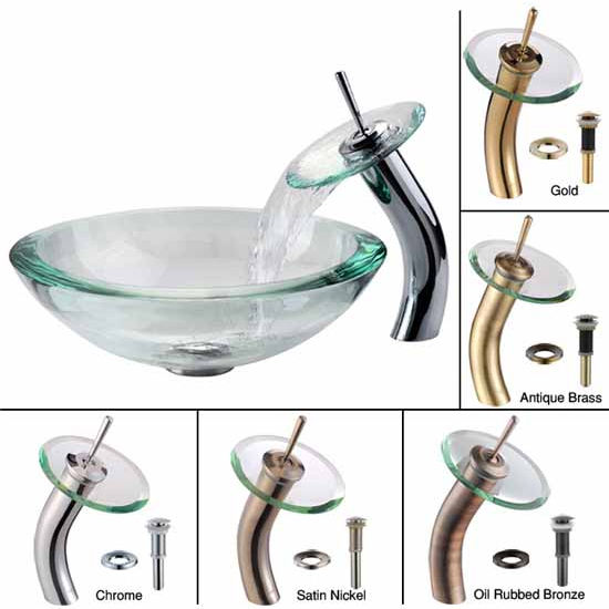 Kraus Clear 34mm edge Glass Vessel Sink and Waterfall Faucet Set