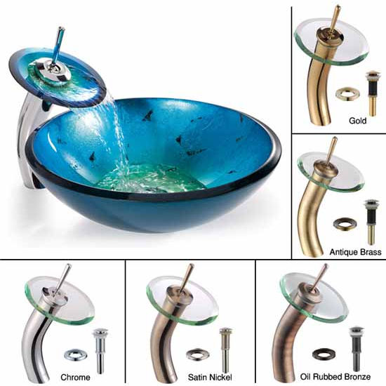 Kraus Irruption Blue Glass Vessel Sink and Waterfall Faucet Set