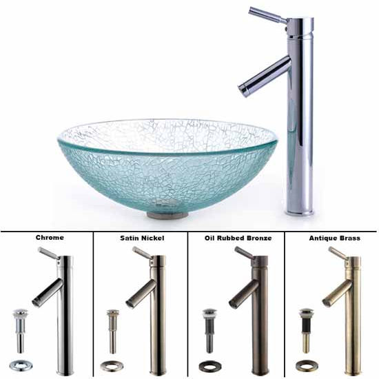 Kraus Broken Glass Vessel Sink and Sheven Faucet Set