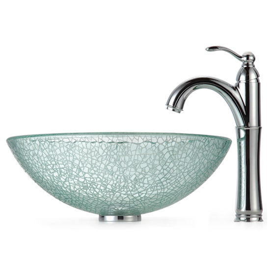 Kraus  Broken Glass Vessel Sink with Small Shattered Glass Mosaic Designed Exterior and Rivera Faucet, Chrome