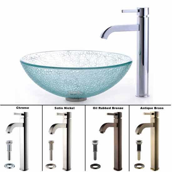 Kraus Broken Glass Vessel Sink and Ramus Faucet Set