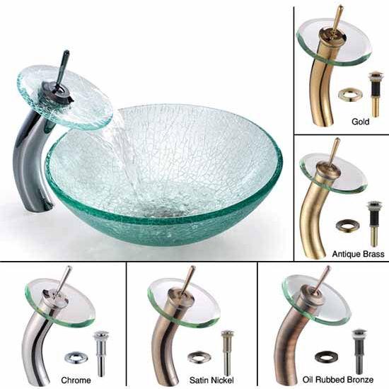 Kraus Broken Glass Vessel Sink and Waterfall Faucet Set