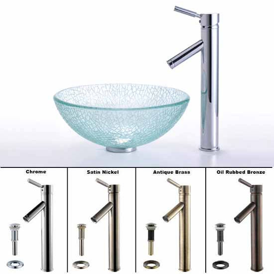 Kraus Broken Glass 14 inch Vessel Sink and Sheven Faucet Set